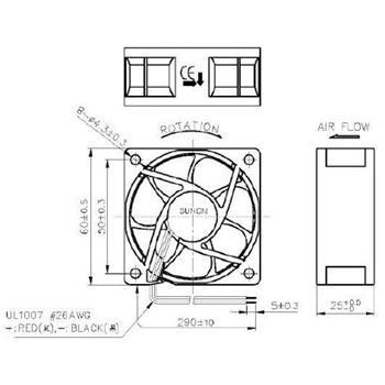 Lüfter 12V DC 1,47W 60x60x25mm 39,9m³/h 4500U/Min 39,9m³/h Sunon EE60251S11000U999