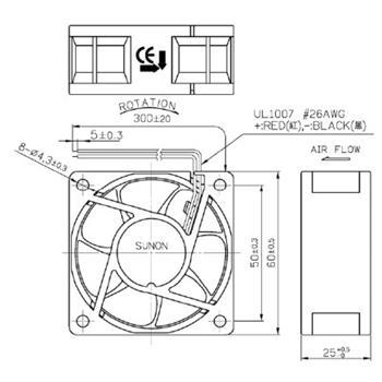 Lüfter 12V 0,9W 60x60x25mm 32,7m³/h 30dBA ; Sunon EE60251B2-A99