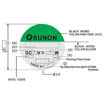 Ventilator Fan 1,68W 60x60x25mm 39,9m³/h 34,5dBA ; Sunon EE60252B1-A99