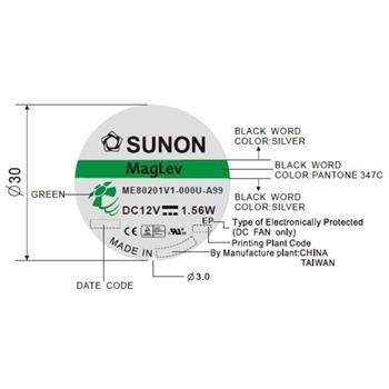 Lüfter 12V 1,56W 80x80x20mm 61,1m³/h 38dBA ; Sunon ME80201V1-A99