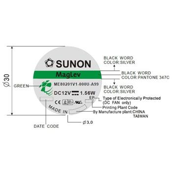 Lüfter 12V DC 1,56W 80x80x20mm 61,1m³/h 3300U/Min 61,1m³/h Sunon ME80201V1-A99