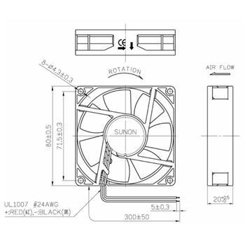 Lüfter 12V DC 1,14W 80x80x20mm 56m³/h 3000U/Min 56m³/h Sunon ME80201V2-A99