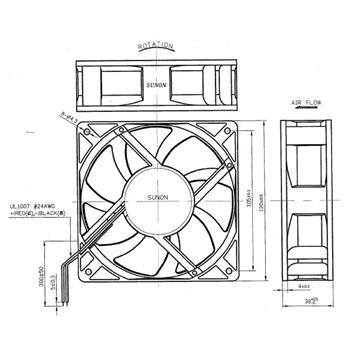 Ventilator Fan 18,2W 120x120x38mm 322,7m³/h 54dBA ; Sunon PMD2412PMB1A