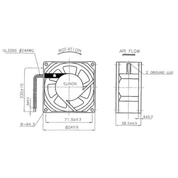 Lüfter 230V AC 14W 80x80x38mm 40,7m³/h 2400U/Min 40,7m³/h Sunon SF23080A2083HBL