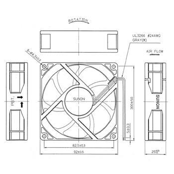 Ventilator 230V 4,6W 92x92x25mm 88,3m³/h 31dBA ; Sunon MA2092HVL