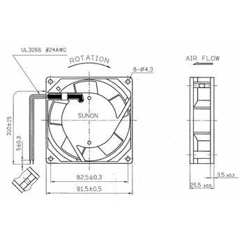 Lüfter 230V AC 14,5W 92x92x25mm 49,2m³/h 2250U/Min 49,2m³/h Sunon SF23092A2092HSL