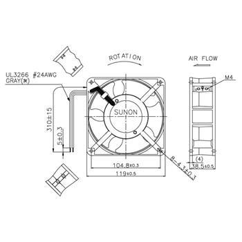Ventilator Fan 230V 10,8W 120x120x38mm 144,4m³/h 44dBA ; Sunon DP201A2123HBL-S