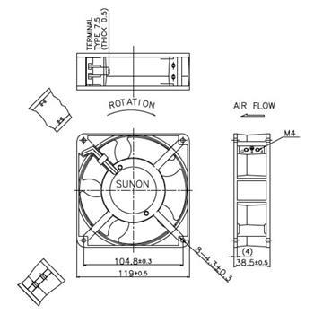 Lüfter 230V AC 10,8W 120x120x38mm 144,4m³/h 2550U/Min 144,4m³/h Sunon DP201A2123HBT-S