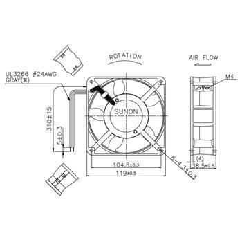 Lüfter 230V AC 10,9W 120x120x38mm 132,5m³/h 2300U/Min 132,5m³/h Sunon DP203A2123LBL-S
