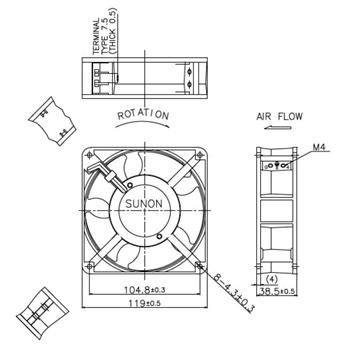Ventilator Fan 230V 10,9W 120x120x38mm 132,5m³/h 39dBA ; Sunon DP203A2123LBT-S