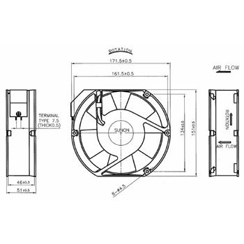Ventilator Fan 230V 26W 172x151x51mm 345m³/h 51dBA ; Sunon A2175HBT-TC