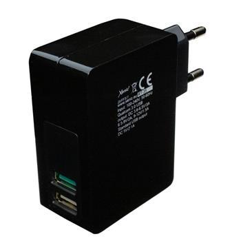 3A Schnelladegerät schwarz 2x USB RT-35 Black Qualcomm Quick Charge 3.0 Handy