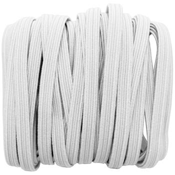 5m x 5mm elastic band white braid boil-proof 75% polyester 25% elastane