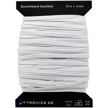 10m x 5mm elastic band white braid boil-proof 75% polyester 25% elastane