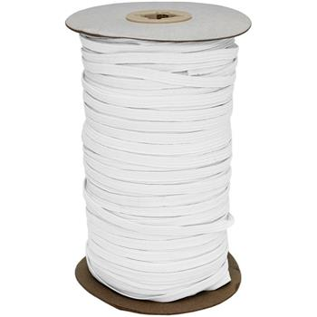 50m x 5mm elastic band white braid boil-proof 75% polyester 25% elastane