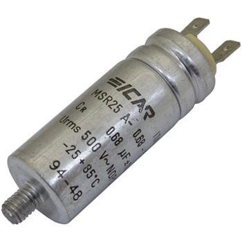 Anlaufkondensator Motorkondensator 0,68µF 500V 25x63mm Stecker 6,3x0,8mm ICAR 0,68uF