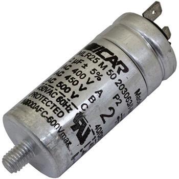 Anlaufkondensator Motorkondensator 2µF 500V 30x86mm Stecker 6,3x0,8mm ICAR 2uF