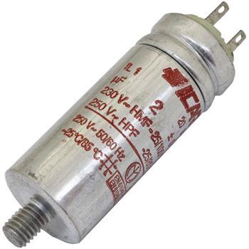 Anlaufkondensator Motorkondensator 2µF 250V 25x63mm Stecker 2,8x0,8mm ICAR 2uF