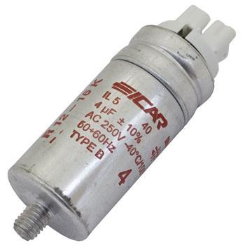 Motor-Kondensator 4µF 250V 30x63mm - Buchse