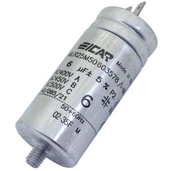 Motor-Kondensator 6µF 500V 35x78mm - Stecker