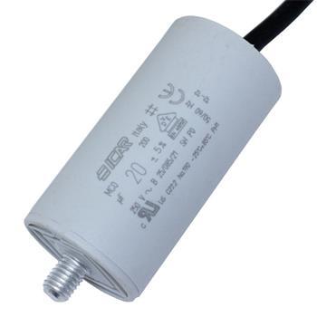 Motor-Kondensator 20µF 250V 36x70mm - Kabel