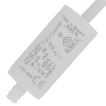 Anlaufkondensator Motorkondensator 1µF 450V 25x51mm Kabel 35cm ICAR 1uF