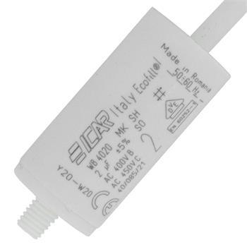 Anlaufkondensator Motorkondensator 2µF 450V 25x51mm Kabel 35cm ICAR 2uF