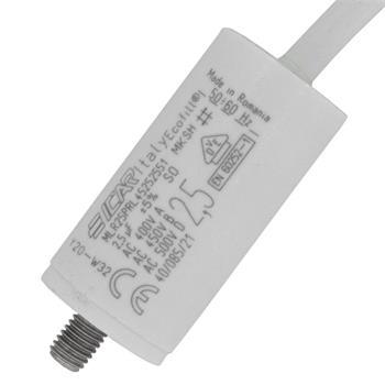Anlaufkondensator Motorkondensator 2,5µF 450V 25x51mm Kabel 35cm ICAR 2,5uF