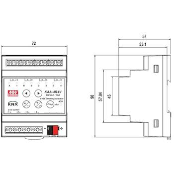 KNX Steuerung Controller MeanWell KAA-4R4V-10 4 Kanäle je 10A LED Dimmer 0-10V