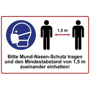 Abstand halten Schild 1,5m 30x20cm Verhaltensregeln Mundschutz Hinweisschild 1mm