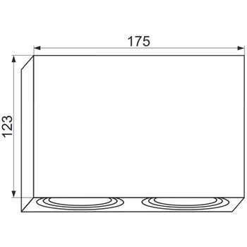 LED Aufbaurahmen Twin Quadratisch 175x95x125mm Aluminium Schwenkbar Spot GU10 MR16