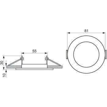 LED Einbaurahmen Rund 81x30mm Stahlblech Spot GU10 MR16