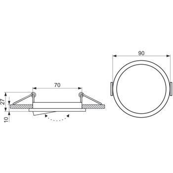 LED Einbaurahmen Rund 81x27mm Stahlblech Schwenkbar Spot GU10 MR16