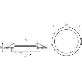 LED Einbaurahmen Rund 95x30mm Aluminium Schwenkbar Spot GU10 MR16