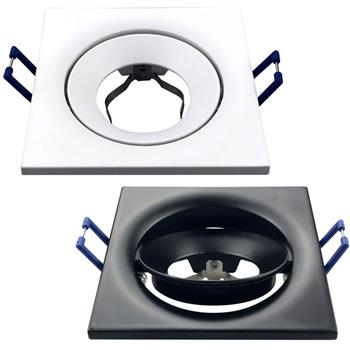 LED Einbaurahmen Quadratisch 90x90x28mm Aluminium Schwenkbar Spot GU10 MR16