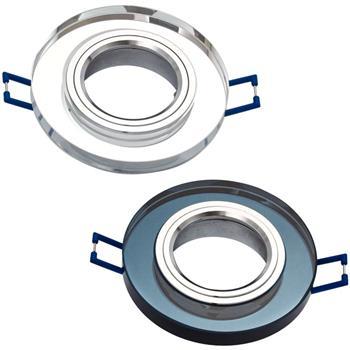 LED Einbaurahmen Rund 90x25mm Glas 8mm Schwenkbar Spot GU10 MR16