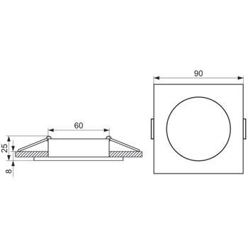 LED Einbaurahmen Quadratisch 90x90x25mm Glas 8mm Schwenkbar Spot GU10 MR16