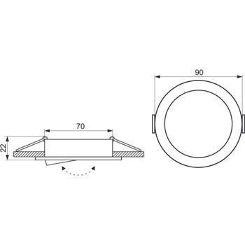 LED Einbaurahmen Rund 90x22mm Aluminium Schwenkbar Spot GU10 MR16