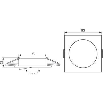 LED Einbaurahmen Quadratisch 93x93x22mm Aluminium Schwenkbar Spot GU10 MR16