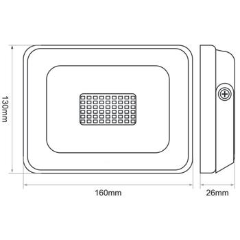 LED Flutlicht Strahler 30W 2550lm Neutral Weiß 4000K 160x130x26mm Schwarz -35...+55°C IP65 110° CRI