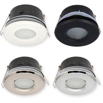 LED Einbaurahmen Bad Feuchtraum Rund IP44 83x55mm Aluminium Spot GU10 MR16