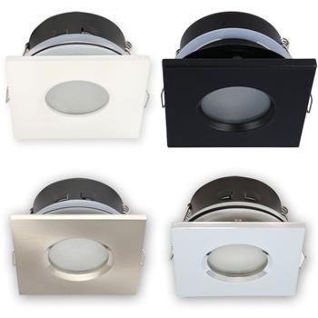 LED Einbaurahmen Bad Feuchtraum Quadratisch IP44 84x84x50mm Aluminium Schwenkbar Spot GU10 MR16