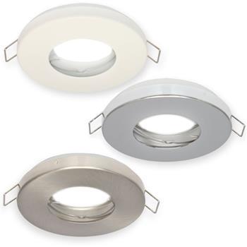 LED Einbaurahmen Bad Feuchtraum Rund IP44 85x36mm Aluminium Spot GU10 MR16