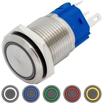 Edelstahl Druckschalter Flach Ø16mm Ring LED IP65 2,8x0,5mm Pins 250V 3A Vandalismussicher