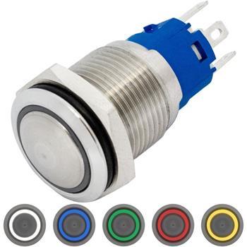 Edelstahl Druckschalter gewölbt Ø16mm Ring LED IP65 2,8x0,5mm Pins 250V 3A Vandalismussicher