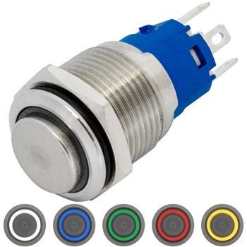 Edelstahl Druckschalter erhaben Ø16mm Ring LED IP65 2,8x0,5mm Pins 250V 3A Vandalismussicher