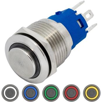 Edelstahl Drucktaster erhaben Ø19mm Ring LED IP65 2,8x0,5mm Pins 250V 3A Vandalismussicher