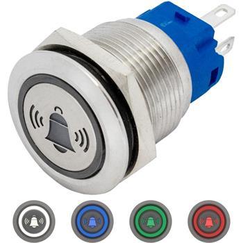 V2A Taster 19mm flach LED Glocke Pins