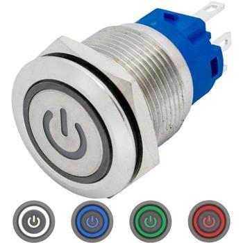 Edelstahl Drucktaster Flach Ø19mm Power LED IP65 2,8x0,5mm Pins 250V 3A Vandalismussicher