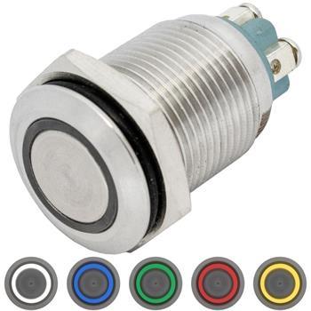 Edelstahl Drucktaster Flach Ø16mm Ring LED IP65 Schraubanschluss 250V 3A Vandalismussicher